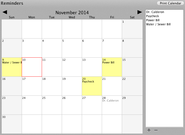 Weekly Reminder Calendar : Creating reminders automatic repeating transactions or